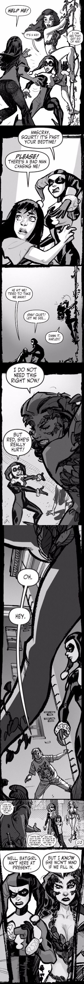 Harley and Ivy to the rescue. Batman: Black and White #3.