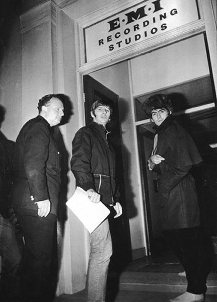 24th November 1966. George and Ringo outside Abbey Road prior to recording The Beatles new album.