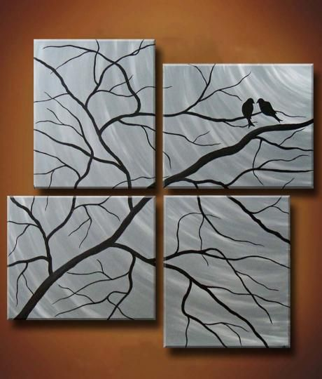 Birds on four canvases.