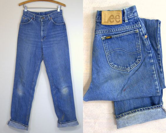 70s Lee Riders Blue Denim High Waisted Western Jeans 28 x 33  These jeans are in good vintage condition. Normal signs of wear. Still some mud