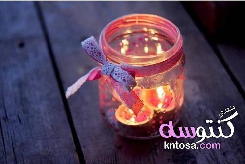 تزيين البرطمانات الفارغة اشكال برطمانات هدايا اعادة تدوير البرطمانات الزجاج كيفية تزيين البرطمانات Kntosa Com 17 19 155 Candle Jars Jar Candles