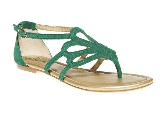 {Seychelles Primrose Sandal} love the green + gold combo