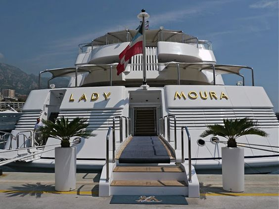 One of the 10 Most Expensive yachts in the world ~Live The Good Life - All about Wealth & Luxury Lifestyle. Lady Moura - $ 210 million  Lady Moura was built by Blohm + Voss shipyards in 1990 and belongs to the Saudi Arabian businessman Nasser Al-Rashid. Include a swimming pool, a retractable roof and a helipad.