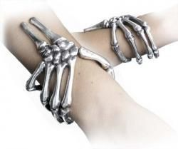 I found 'Hinged skelton hand bracelet.' on Wish, check it out!