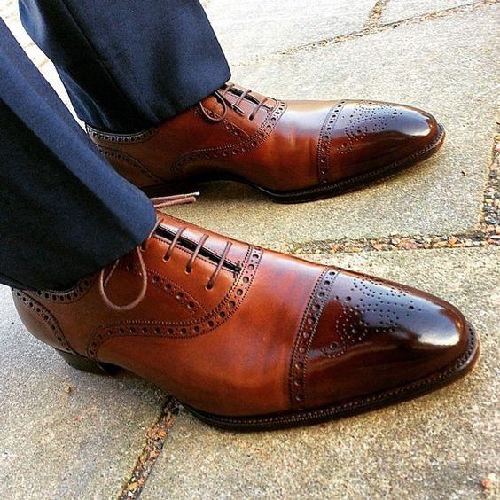 Handmade Men,s Brown color wingtip Brogue formal dress shoes