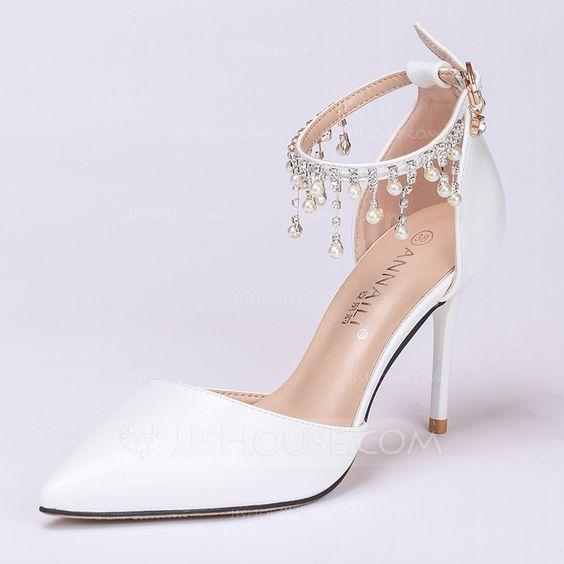 Mulheres Couro Salto agulha Fechados Bombas (047113568) - Sapatos de casamento - JJsHouse