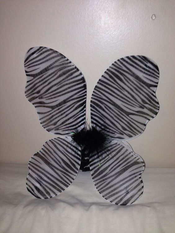 """Zebra Striped Butterfly Wings, Elastic Arm Straps Feathers 17 x 12"""" Wings Tutu"""