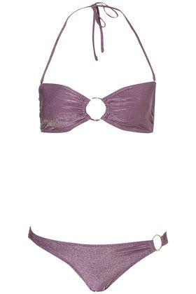 Purple Lurex Bandeau Bikini - StyleSays