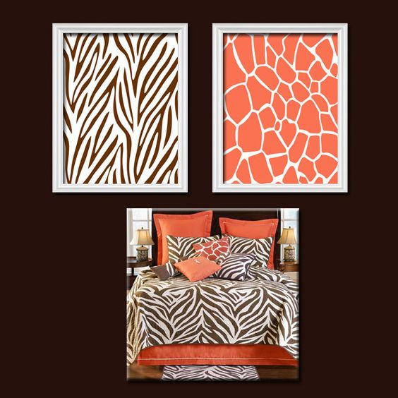 Brown Coral Zebra Giraffe Pattern Artwork Set of 2 Prints Wall Decor Abstract Art Bedroom Picture. $23.00, via Etsy.