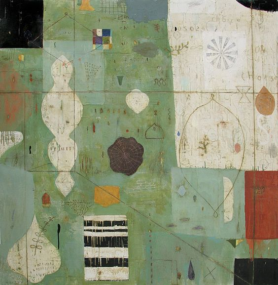 Nicholas Wilton      LESS TRAVELLED    MIXED MEDIA  ON PANEL  60 X 60  id 8505  2012