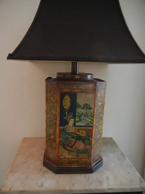 Vintage Asian 1950's TEA TIN Table Lamp Frederick by AKingsThings, $220.00