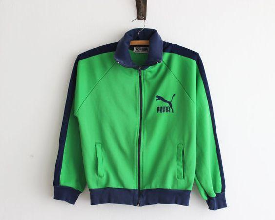vintage Puma zip front jacket/ 90s green Puma track suit/ grass