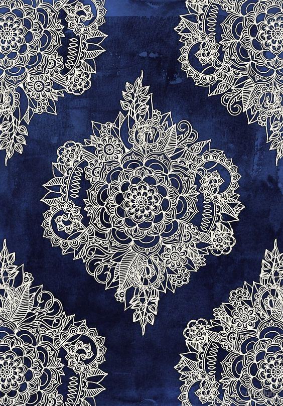 Micklyn Le Feuvre - Cream Floral Moroccan Pattern on Deep Indigo Ink