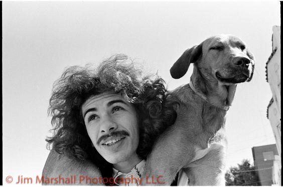 Carlos Santana and canine pal (Grateful Dead concert, San Francisco c.1968)