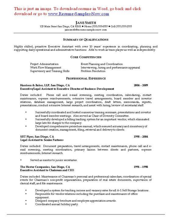 Legal Secretary Resume Objective Resume Samples Pinterest - legal secretary resume