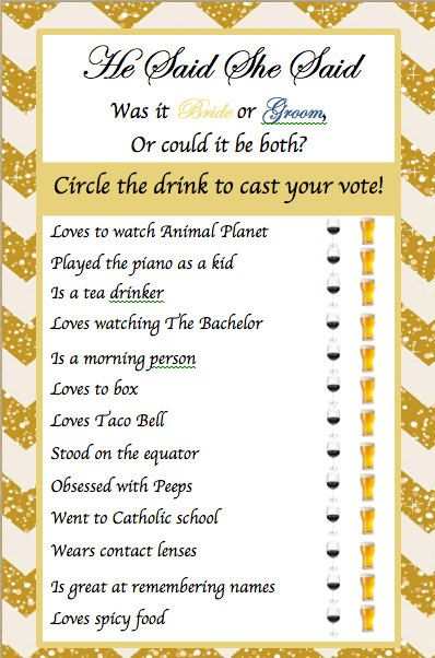Bridal Shower Game He Said She Said by KreativeBehr on Etsy
