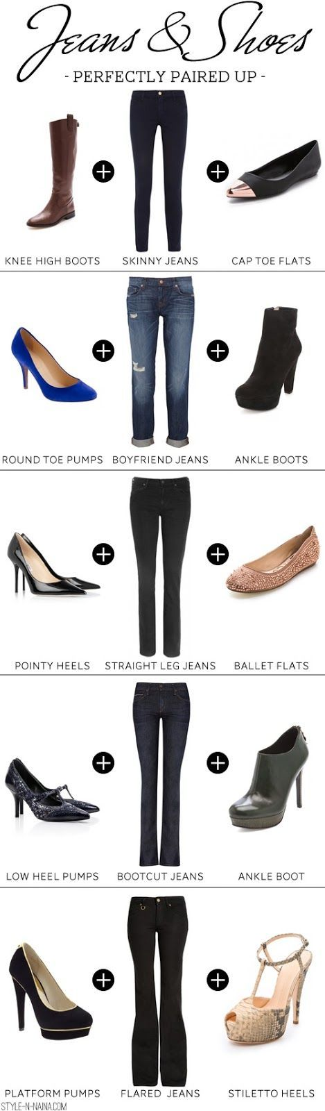 Shoes to wear with boot-cut jeans fashion. .to see more click on ...