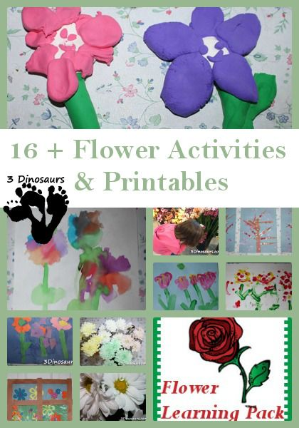 16 + Flower Activities from 3 Dinosaurs - painting, sensory bins and printables
