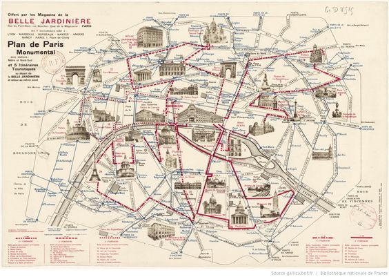 Carte paris monuments et portes culture pinterest for Paris carte touristique