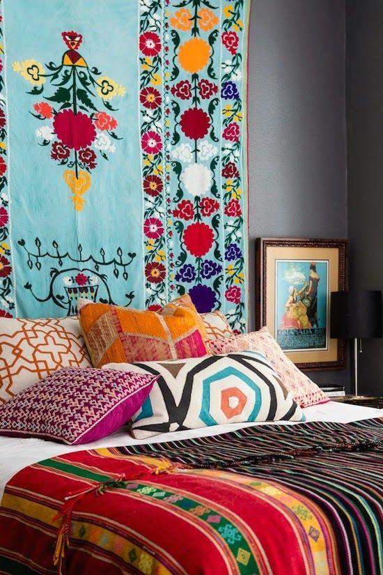Textile filled bedroom.