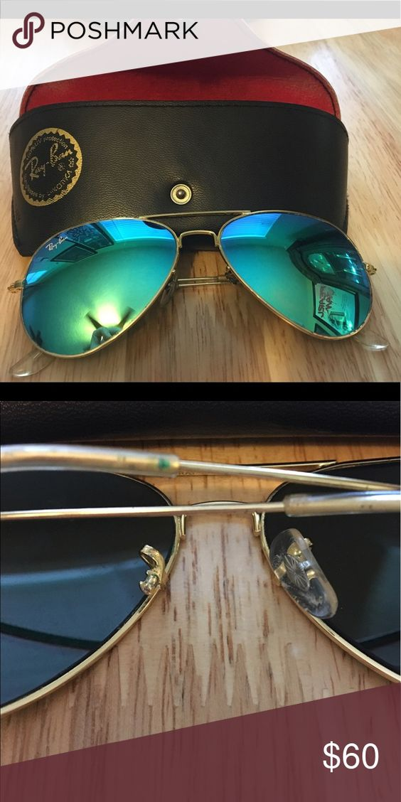 Blue Green Mirrored Ray Ban Aviators Good Used Condition Some Small Chips On Frames And Lenses Missing Nose Piece Th Ray Ban Aviators Dress Shoe Bag Ray Bans