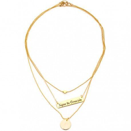 Accesorios para mujer , Espectacular trio de cadenas elaboradas a mano con baño de oro y