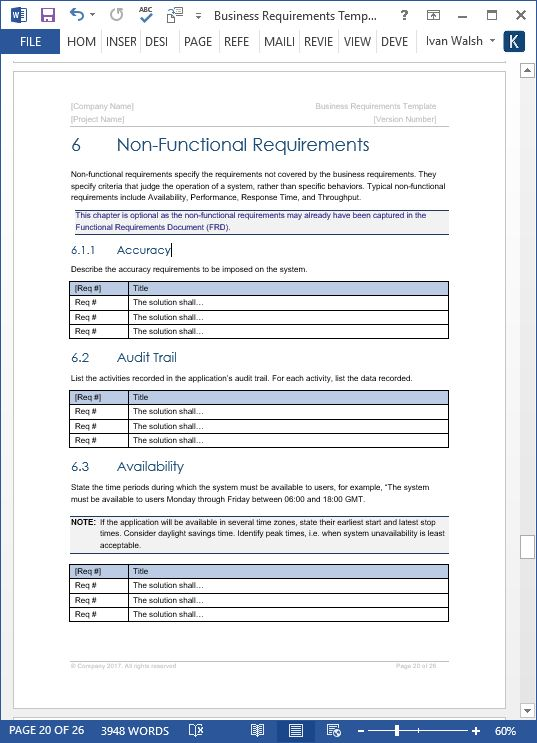 Business Requirements Specification Template Ms Word Excel Throughout Software Business Requirements Docu Business Requirements Spreadsheet Template Templates