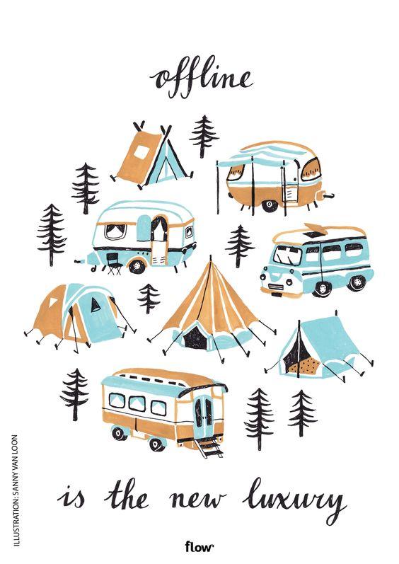 Offline is the new luxury - Illustration for Flow Magazine by Sanny van Loon | www.sannyvanloon.com | gouache | handmade | vintage caravans | tents | camping