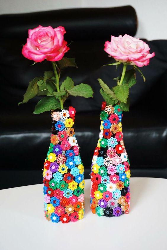 Hama perler bead flowers ued to a bottle / vase