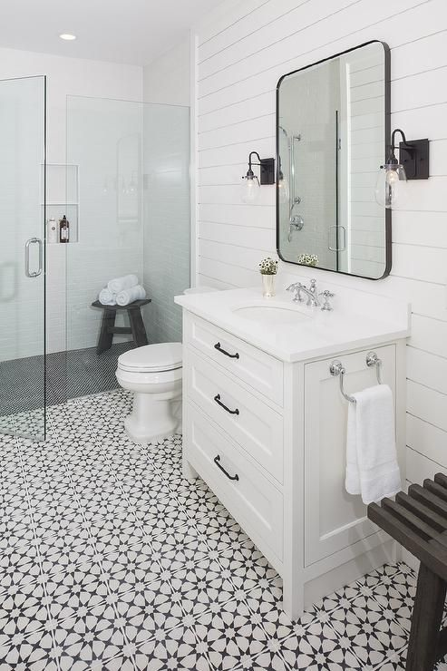 Charming Black And White Bathroom Modern Farmhouse Bathroom