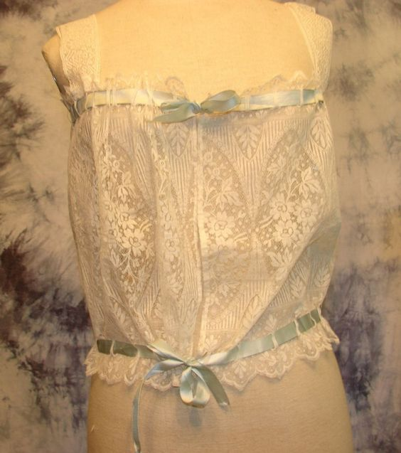 VTG Antique Corset Cover Bustier Camisole Solid Lace Silk Ribbon s - xxxl #notlisted