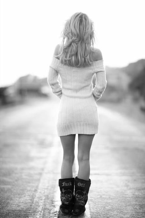 love this look. fuck me boots and knit sweater: the i'm not trying i just AM sexiness
