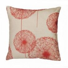 dandelion pillow.  Red decor