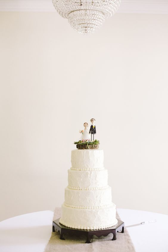 classic #white #wedding #cake with sweet topper