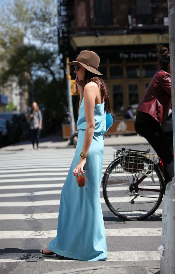 blue #maxi & #hat. #streetstyle