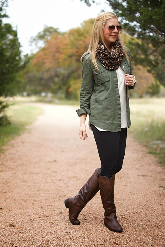 Army green shirt, white shrts, leopard scarf, black leggings and brown boots.