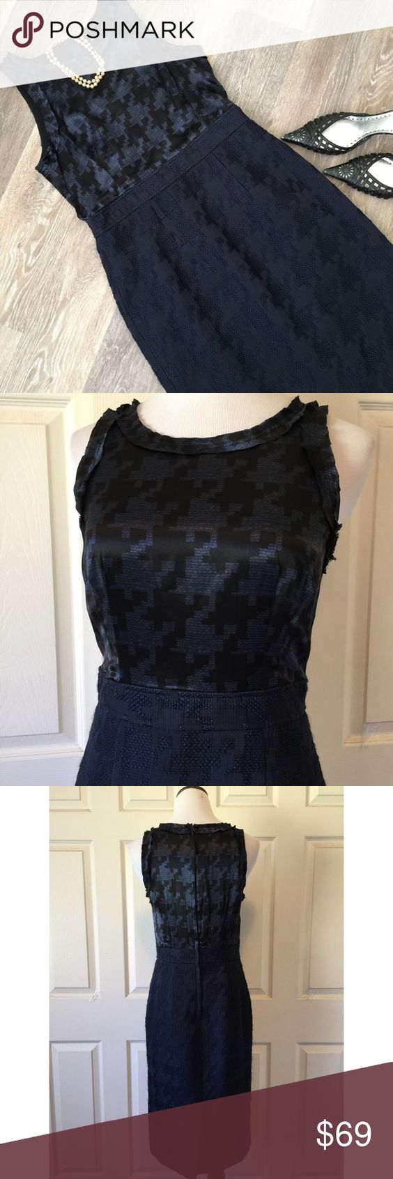 """BANANA REPUBLIC MAD MEN COLLECTION DRESS. Gorgeous Banana Republic Mad Men Collection dress, in wonderful condition. Pencil skirt bottom In boucle and a silk top. Beautiful exploded tonal houndstooth pattern on both top and bottom of the dress. Size 8: 43"""" length, 30"""" waist, 36"""" bust. Fabric content:  Shell- upper 100% Silk, lower 55% polyester, 45% acrylic,  5% spandex. Lined and  dry clean only. No trades and a smoke free home. Thanks for stopping by, we are a tag away if we can be of…"""