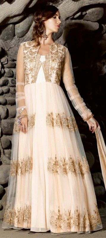 449688 White and Off White  color family Anarkali Suits in Net fabric with Machine Embroidery,Thread,Zari work .