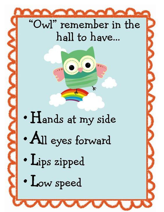 Cute owl themed hall behavior poster to put on door
