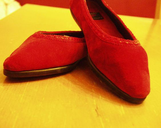Red Suede Ballet Flats / Flats / slippers / walk by BoutiqueThrift, $20.00