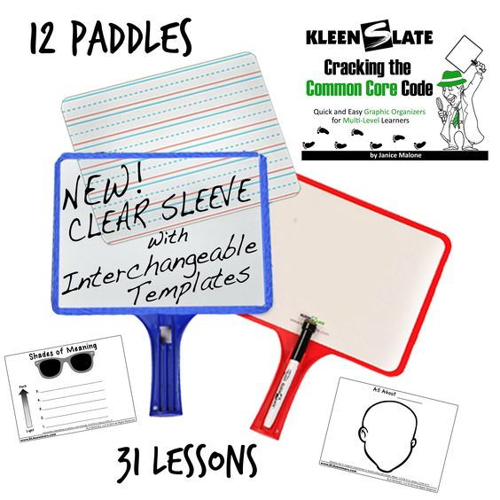 My Favorite Workshop Manipulative:  Double -Sided, CLEAR POCKET and WHITEBOARD PADDLE KIT with 31 Common Core Lessons