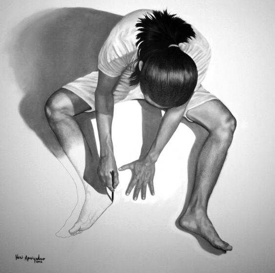 """""""I'm Apparently Drawing Myself"""" – Drawings by Veri Apriyatno (8 Pictures) > Design und so, Illustrationen, Paintings > charcoal, drawings, i..."""