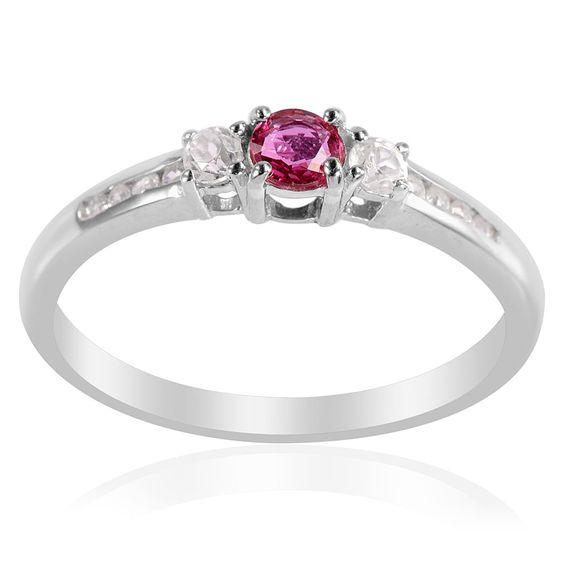 liquidation channel burmese ruby and white zircon ring in platinum overlay sterling silver