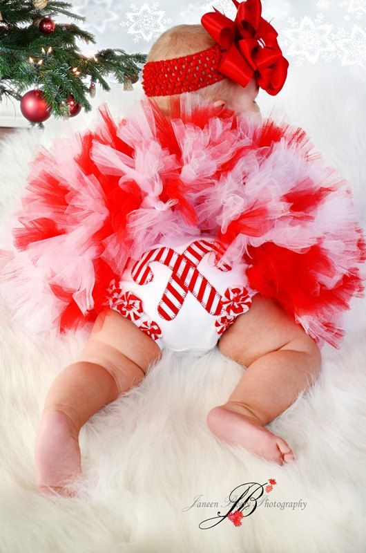 Adorable Christmas Candy Cane Petti tutu Set NB to by IzzysCouture