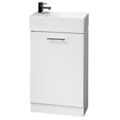 Trueshopping 480mm Wide White Gloss Bathroom Vanity Unit with ...