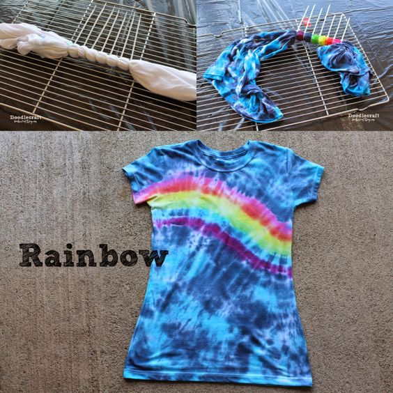 40 Fun and Colorful Tie Dye Crafts - Tulip T-Shirt Tie Dye Party – create heart, bullseye, rainbow, pie shaped swirl, multiple bullseye, messy spiral patterns - http://bigdiyideas.com