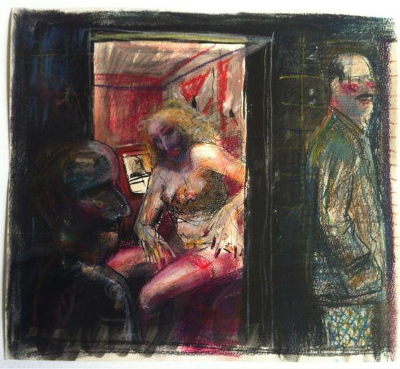 Volker Stelzmann| Drei-Farben-Haus|1977|Tuschfeder/farbige Kreide|32,2 x 36 cm