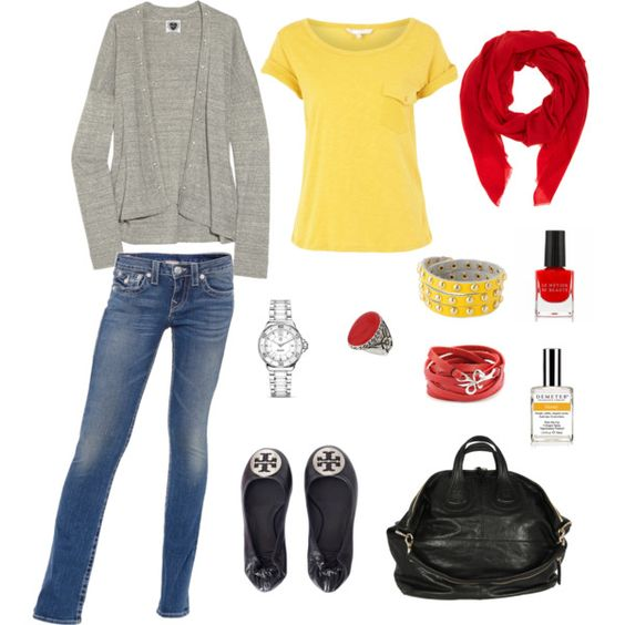 Red, yellow and gray