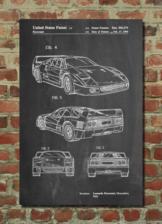 Ferrari F40 Patent Art Print, Patent Art, Blueprint, Patent Print, PatentPrints