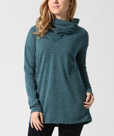 Love this Green Cowl Neck Tunic on #zulily! #zulilyfinds: